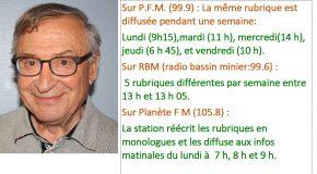 Dernières chroniques radio de Serge AVEILLAN