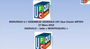Assemblée Générale de l'UFC Que-Choisir de l'Artois du 27 Mars 2019