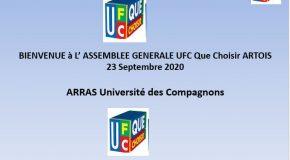 Assemblée Générale de l'UFC Que-Choisir de l'Artois du 23 Septembre 2020